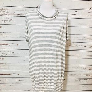 {FREE PEOPLE} Gray & White Stripe Banded Tunic
